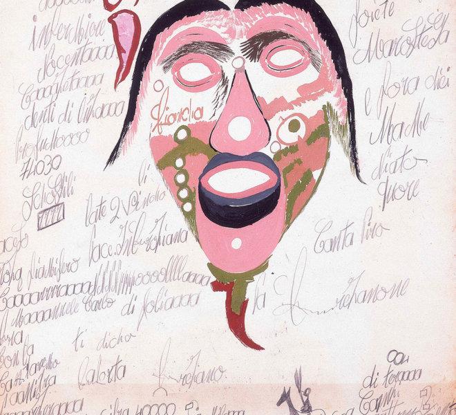 Maschera rosa e verde con barba