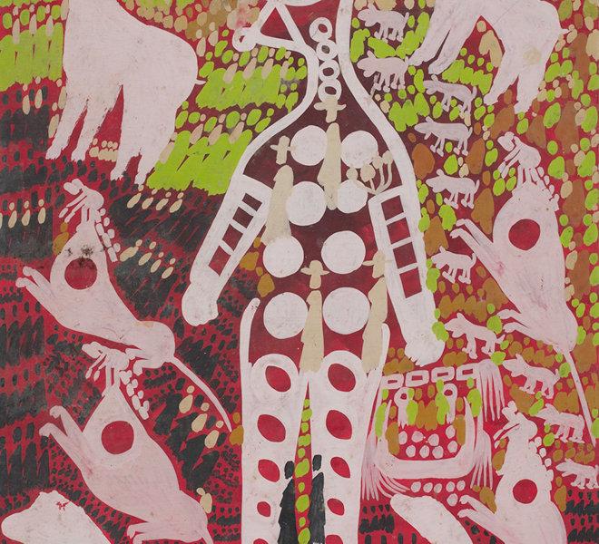 Uomo, cani, topi e figure bianche a cerchi su sfondo rosso